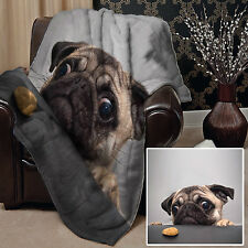 PUG DOG WITH BISCUIT DESIGN SOFT PICNIC THROW BLANKET BED COVER GREAT GIFT IDEA