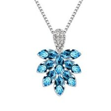 18K White Gold Plated Made with Swarovski Elements Blue Bunch Leaf Necklace