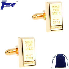 Fashion Cuff Links Men Gold Bar Shirt Cufflinks With Velvet Bag