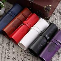 Retro Roll PU Leather Makeup Brush Cosmetic Pouch Pencil Case Organizer Bag ONE