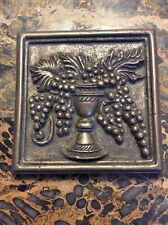 Bronze Wall Tile Basket Of Grapes Made In Turkey 4 x 4 Perfect