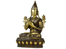 c1890 Bronze with Gold & Silver Tibetan Buddha Statue