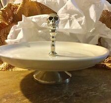 New Pottery Barn METAL SKULL & CERAMIC ROUND PLATTER Halloween serving dish
