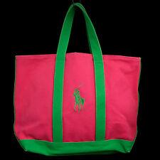 "RALPH LAUREN Pink & Green Canvas Beach Tote Bag 12"" x 16"" Big Pony Logo"