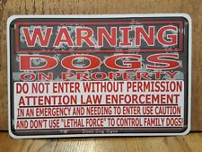 "Metal Warning Camo Dogs Sign For FENCE ,Beware Of Dog 8""x12"""