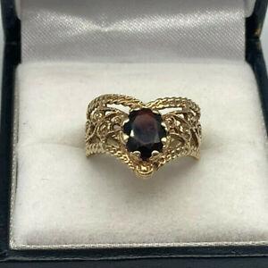 Vintage 9ct Gold Hallmarked Garnet Wishbone Ring.  Goldmine Jewellers.