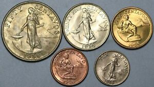 1958 Philippines 1c 5c 10c 25c 50c Five Coin Type Set Choice BU (21032601R)