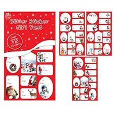 Tallon - 75 X Christmas Glitter Sticker Gift Tags - Cute Designs, Gift Tags Xmas