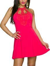SeXy Miss Damen Neckholder Spitze Mini Kleid Party Dress 32/34/36 Lachs NEU Top
