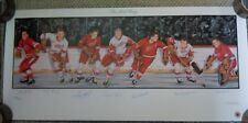 """THE RED WINGS LITHOGRAPH (7) AUTOGRAPHS 39"""" x 18"""" DETROIT RED WINGS GORDIE HOWE"""