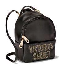VICTORIA'S SECRET BLACK STUDDED GLAM ROCK MINI CITY BACKPACK HANDBAG PURSE NWT