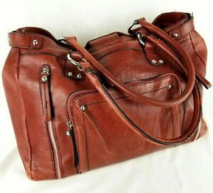 Wilsons Leather Laptop Bag Computer Distressed Red Briefcase Vintage Tote