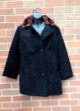 Ladies Coat.Astrakhan Coat & Mink ~ 1950's Vintage•UK14/16 Black VGC