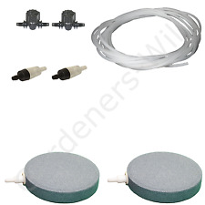 "4"" 10cm AIR STONE KIT 2x DIFFUSER +VALVES +NON RETURN +10m PIPE hydroponic pond"