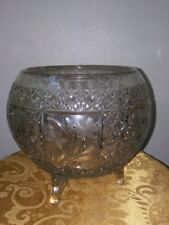 Crystal Etched Footed Rose Bowl
