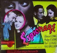 """Espionage"",1937 Movie Preview Advertising, Vintage Magic Lantern Glass Slide"