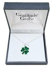 "Irish Clover Necklace Kiss Me Silver Tone Glittery 17"" + 3"" Extender New in Box"