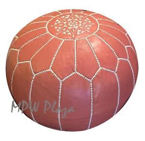 MPW Plaza Pouf, Coral, Moroccan Leather Ottoman (Un-Stuffed)
