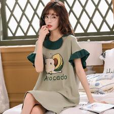 Women Short Sleeve Cotton Nightgown Cartoon Sleep Shirt Dress Casual Sleepwear