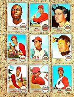 Lot of 9 1968 Topps Cleveland INDIANS vintage cards,  Sam McDowell, Alvin Dark