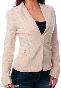 Beige Eyelet Lace Trim Button/Loop Long Sleeve Blazer/Jacket S/M/L