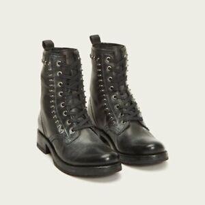 $328 FRYE Veronica Rebel Studded Combat Boots NWOB Size 11 Black Goodyear Welt