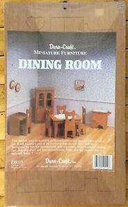Dura-Craft Miniature Dollhouse Dining Room Furniture DR10 Kit 1:12 Table,Chairs