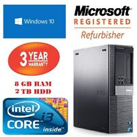 CHEAP FAST DELL CORE I3 DESKTOP PC 8GB RAM 2TB HDD 3 YEARS WARRANTY WINDOWS 10