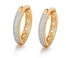 Yellow gold finish created diamond beautiful design Hoop Earrings free postage
