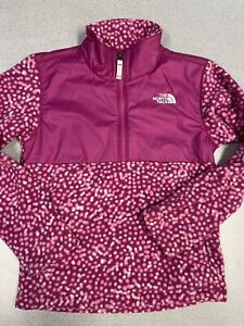 the north face kids small pullover pink with polka dot 1/2 zip EUC Outwear