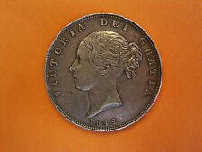 1842 Queen Victoria Young Head Coinage Milled Silver Half Crown