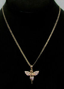 "CHARMING 10K GOLD ANGEL CHARM / PENDANT ON 19"" CHAIN"