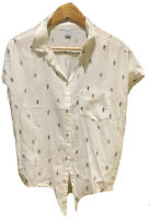 Old Navy Womens Button Front Shirt White Cactus Retro Style Short Sleeve Size L
