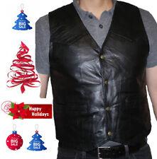 Men's Motorcycle Black Italian Stone Design Genuine Leather Vest