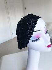 Stunning! Black Sequin hat by Beret Oasis One Size Regular New
