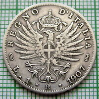 ITALY VITTORIO EMANUELE III 1907 R LIRA, SILVER