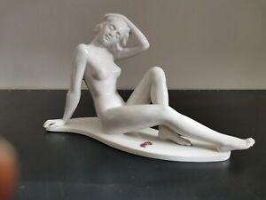 Porzellanfigur Alka Dresden - Akt sitzend - Sign Bochmann Modell-Nr.: 273