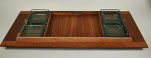 Vintage Danish Style Teak Serving Tray With Condiment Dishes