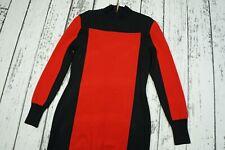 Used sz 42 US 12 UK 16 BALMAIN for H&M red black knit dress long sleeves