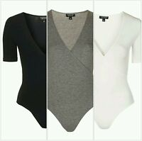 Topshop Front Wrap Bodysuit Leotard with Half Sleeves - 3 colours -Sizes 4 to 16