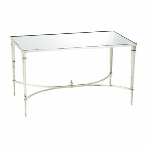 French Square Leg Cocktail Table Nickel Mirror