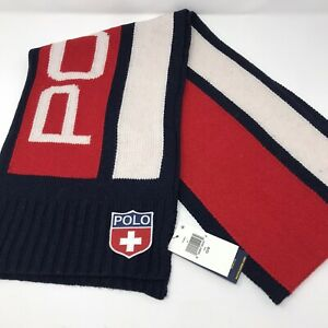 Polo Ralph Lauren Red White Navy Color-blocked Large POLO LOGO Knit Scarf