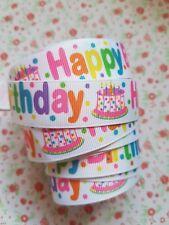 1 M x Happy Birthday Grosgrain Ribbon Craft  Hair Bow Cake Craft  22mm