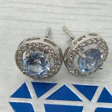 6mm Round Cut Blue Aquamarine Halo Post Style Earrings in Sterling Silver