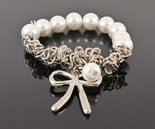 Pearl Silver Bow Charm Jewellery Elastic Bracelet