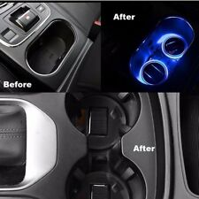 2x Solar Energy Car Auto BLUE Cup Holder Bottom Pad Mat LED Light Trim All Cars
