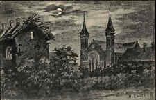 St. Pierre Frankreich s/w AK CPA 1916 datiert Kirche bei Nacht von H. Zwicker