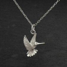 Hummingbird Pendant Necklace - 925 Sterling Silver - Diamond Cut Birds Wings NEW