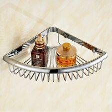 Polished Chrome Brass Bathroom Shower Caddy Storage Corner Basket Wall Mounted