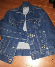 VTG LEVIS STRAUSS RED TAB blue jean denim jacket button front pockets Size small